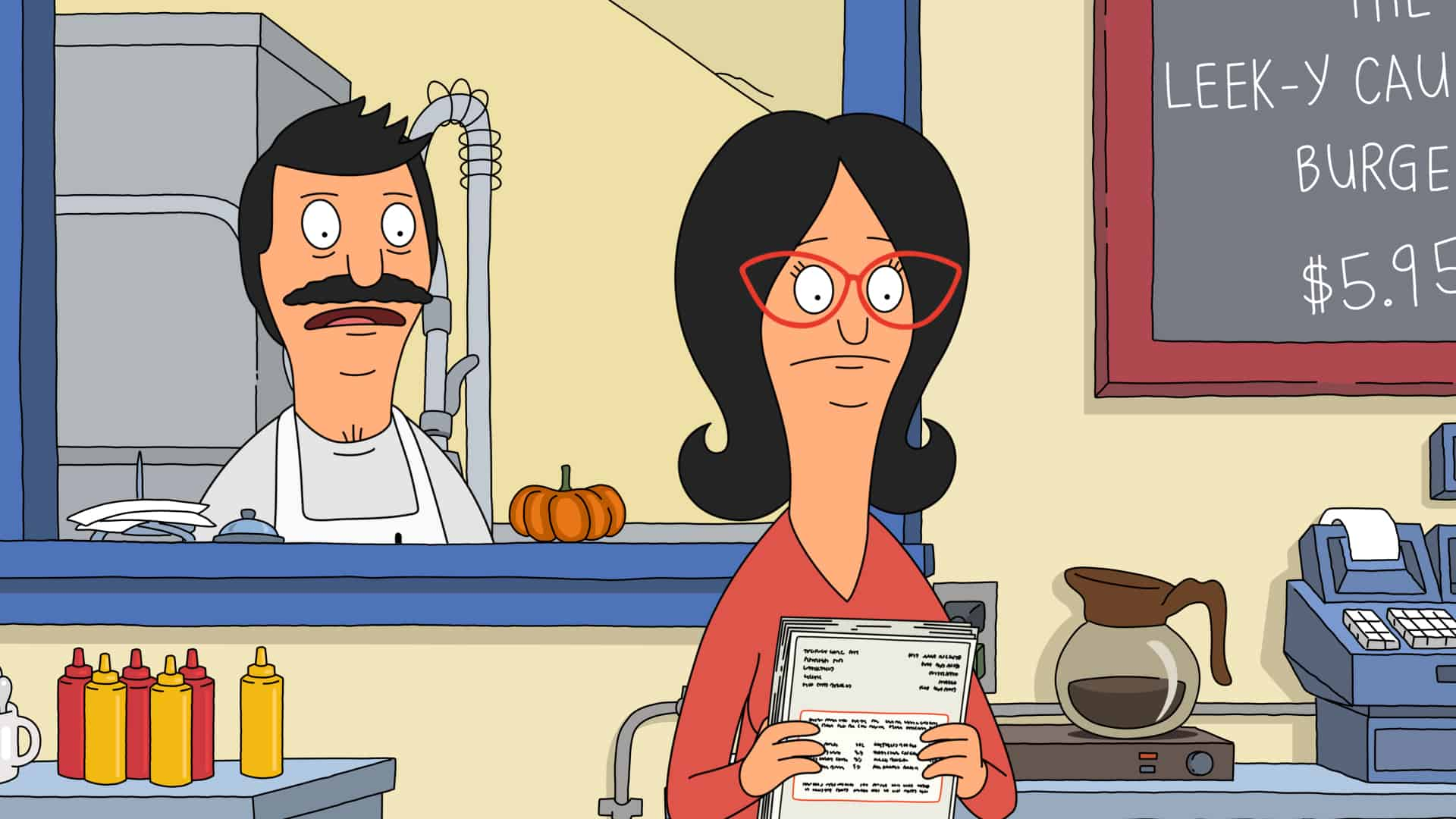 """BOB'S BURGERS Season 12 Episode 3: When a mysterious note is sent to Linda on Halloween, she and Gayle must travel to their hometown to face a wrong they committed 27 years ago in the """"The Pumpkinening"""" Halloween-themed episode of BOB'S BURGERS airing Sunday, Oct. 10 (9:00-9:30 PM ET/PT) on FOX. BOB'S BURGERS © 2021 by 20th Television."""