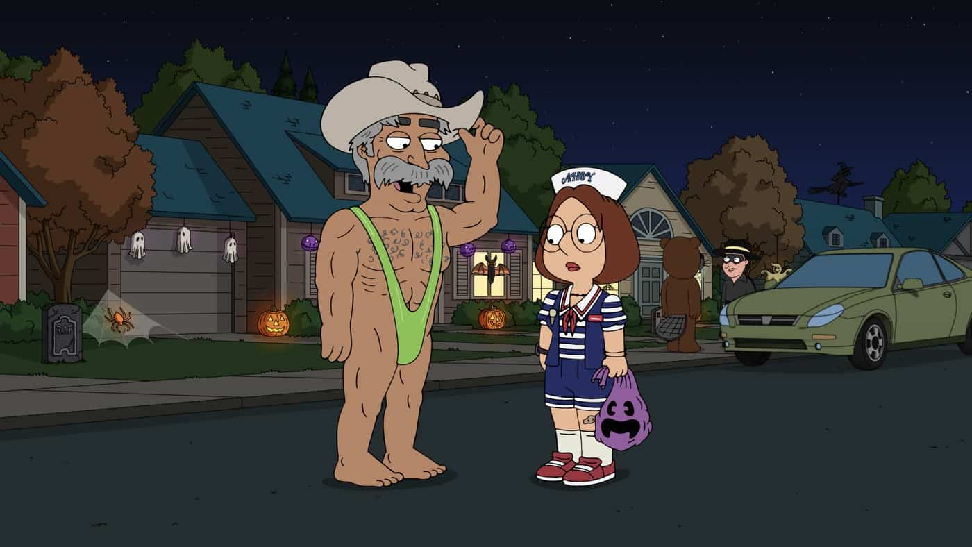 """FAMILY GUY Season 20 Episode 3: Quagmire meets an avid dog lover, and pretends Brian is his dog in an attempt to win her over. Meanwhile, Chris helps Stewie track down the culprit who stole his Halloween candy in the """"Must Love Dogs"""" Halloween-themed episode of FAMILY GUY airing Sunday, Oct. 10 (9:30-10:00 PM ET/PT) on FOX. FAMILY GUY © 2021 by 20th Television."""