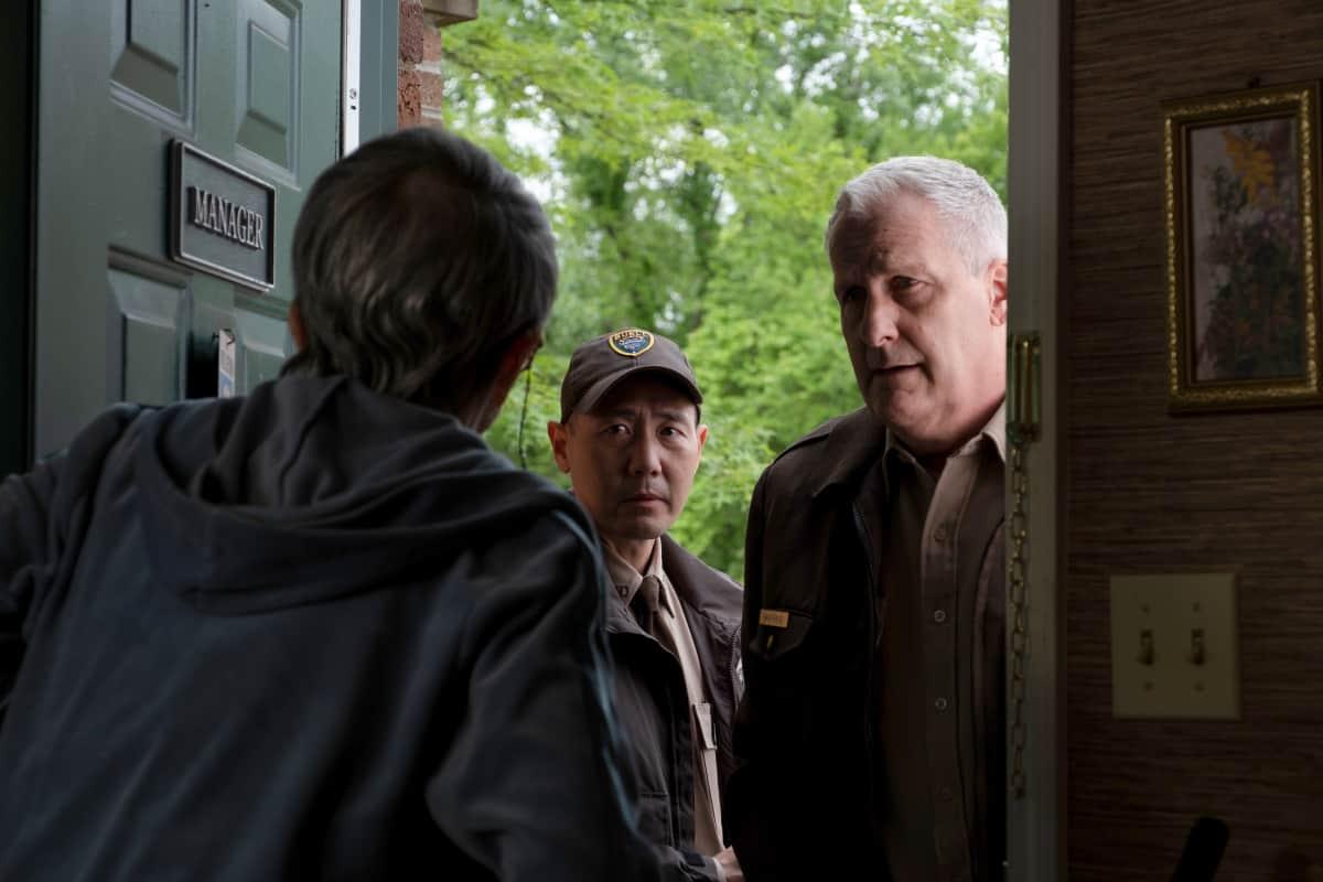 "AMERICAN RUST Season 1 Episode 5 (L-R): Pat Squire as the older woman, Rob Yang as Steve Park and Jeff Daniels as Del Harris in AMERICAN RUST, ""Jojo Ameri-Go"".  Photo credit: Dennis Mong/SHOWTIME."