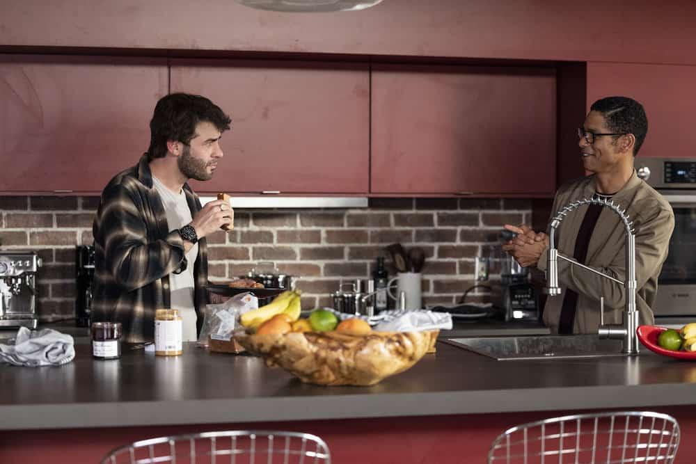 "ORDINARY JOE Season 1 Episode 4 -- ""Shooting Star"" Episode 104 -- Pictured: (l-r) James Wolk as Joe Kimbreau, Charlie Barnett as Eric Payne -- (Photo by: Fernando Decillis/NBC)"