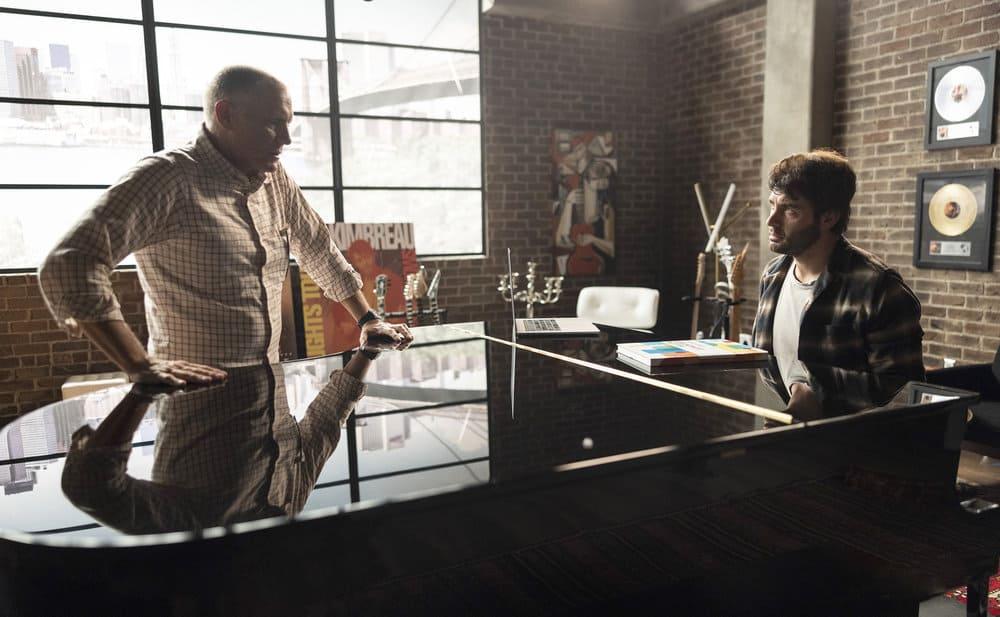 "ORDINARY JOE Season 1 Episode 4 -- ""Shooting Star"" Episode 104 -- Pictured: (l-r) David Warshofsky as Uncle Frank, James Wolk as Joe Kimbreau -- (Photo by: Fernando Decillis/NBC)"