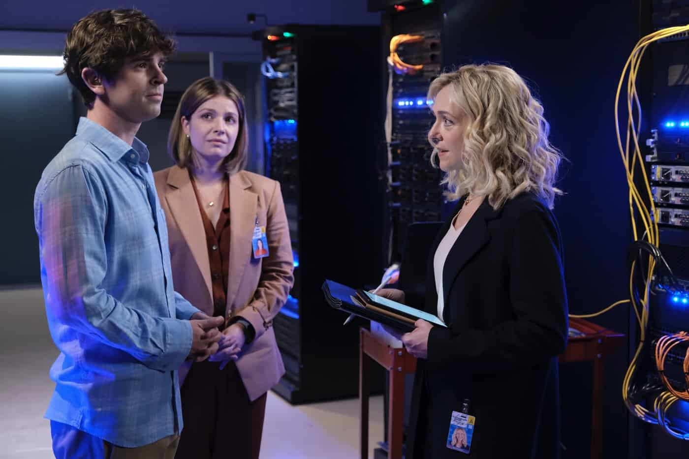 """THE GOOD DOCTOR Season 5 Episode 3 - """"Measure of Intelligence"""" – Shaun confronts Salen (Rachel Bay Jones) about the many changes she has implemented since coming on at St. Bonaventure, and Glassman is forced to accept his new role at the hospital on an all-new """"The Good Doctor,"""" MONDAY, OCT. 11 (10:00-11:00 p.m. EDT), on ABC. (ABC/Jeff Weddell) FREDDIE HIGHMORE, PAIGE SPARA, RACHEL BAY JONES"""