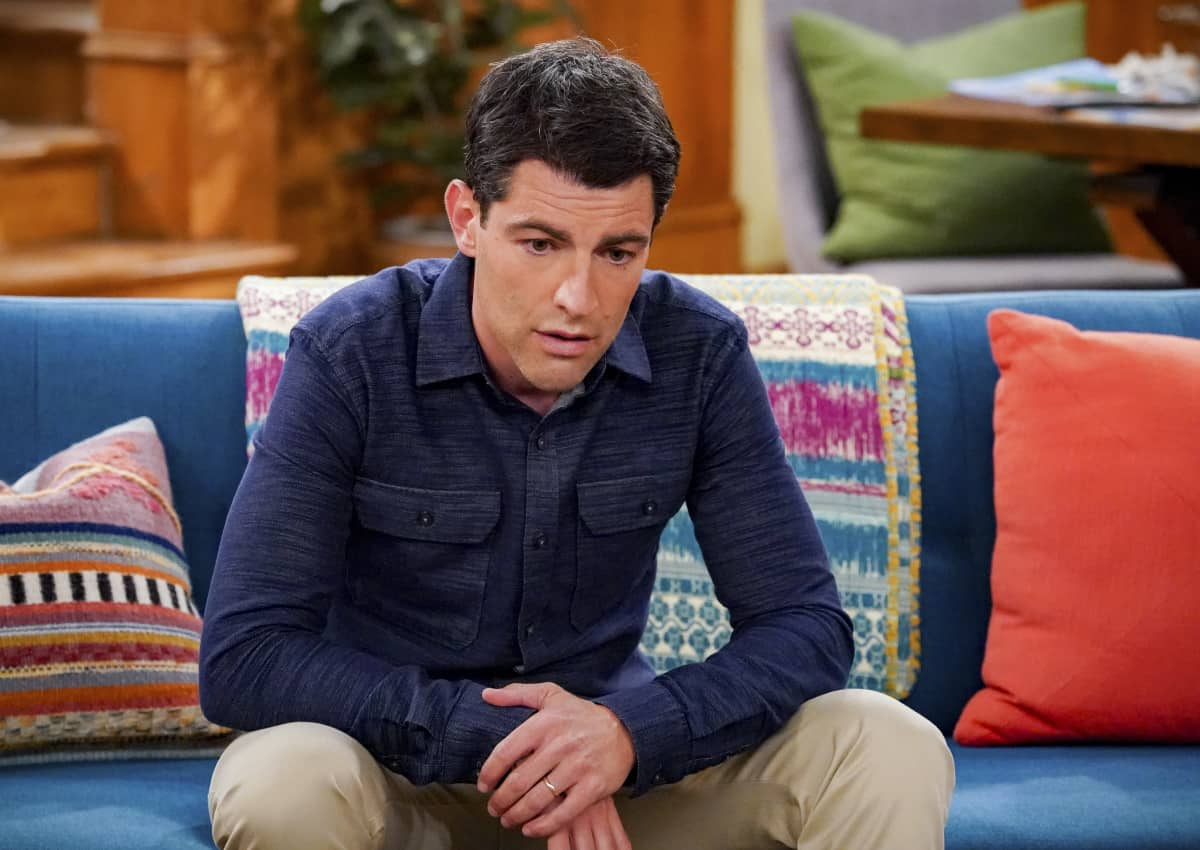 """THE NEIGHBORHOOD Season 4 Episode 4 """"Welcome to the Porch Pirate"""" - Pictured: Max Greenfield (Dave Johnson). When Dave and Gemma face a devastating loss, Calvin and Tina offer emotional support and reflect on a period that tested their own family, on the CBS Original series THE NEIGHBORHOOD, Monday, Oct. 11 (8:00-8:30 PM, ET/PT) on the CBS Television Network, and available to stream live and on demand on Paramount+. Photo: Monty Brinton/CBS ©2021 CBS Broadcasting, Inc. All Rights Reserved."""