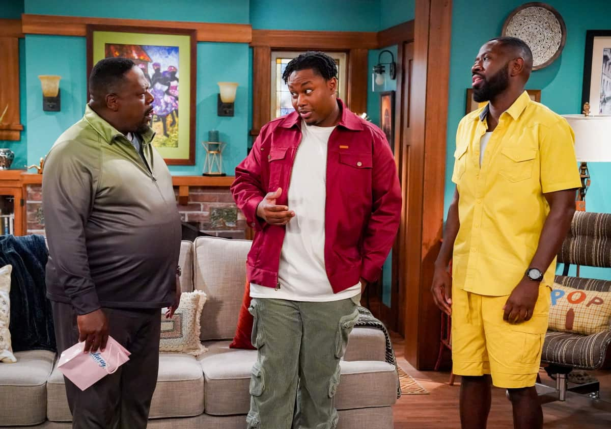 """THE NEIGHBORHOOD Season 4 Episode 4 """"Welcome to the Porch Pirate"""" - Pictured: Cedric the Entertainer (Calvin Butler), Marcel Spears (Marty Butler) and Sheaun McKinney (Malcolm Butler). When Dave and Gemma face a devastating loss, Calvin and Tina offer emotional support and reflect on a period that tested their own family, on the CBS Original series THE NEIGHBORHOOD, Monday, Oct. 11 (8:00-8:30 PM, ET/PT) on the CBS Television Network, and available to stream live and on demand on Paramount+. Photo: Monty Brinton/CBS ©2021 CBS Broadcasting, Inc. All Rights Reserved."""