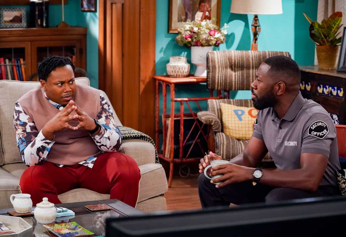 """THE NEIGHBORHOOD Season 4 Episode 4 """"Welcome to the Porch Pirate"""" - Pictured: Marcel Spears (Marty Butler) and Sheaun McKinney (Malcolm Butler). When Dave and Gemma face a devastating loss, Calvin and Tina offer emotional support and reflect on a period that tested their own family, on the CBS Original series THE NEIGHBORHOOD, Monday, Oct. 11 (8:00-8:30 PM, ET/PT) on the CBS Television Network, and available to stream live and on demand on Paramount+. Photo: Monty Brinton/CBS ©2021 CBS Broadcasting, Inc. All Rights Reserved."""