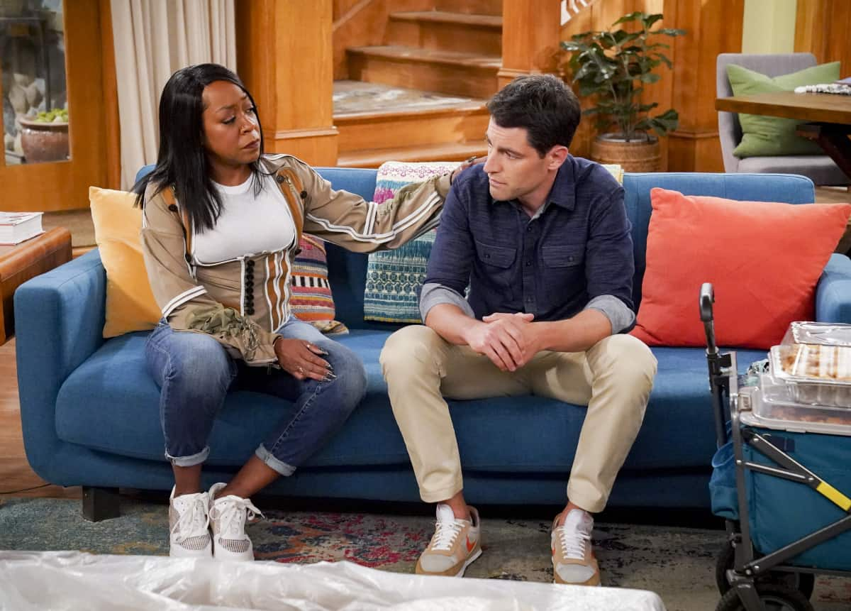 """THE NEIGHBORHOOD Season 4 Episode 4 """"Welcome to the Porch Pirate"""" - Pictured: Tichina Arnold (Tina Butler) and Max Greenfield (Dave Johnson). When Dave and Gemma face a devastating loss, Calvin and Tina offer emotional support and reflect on a period that tested their own family, on the CBS Original series THE NEIGHBORHOOD, Monday, Oct. 11 (8:00-8:30 PM, ET/PT) on the CBS Television Network, and available to stream live and on demand on Paramount+. Photo: Monty Brinton/CBS ©2021 CBS Broadcasting, Inc. All Rights Reserved."""