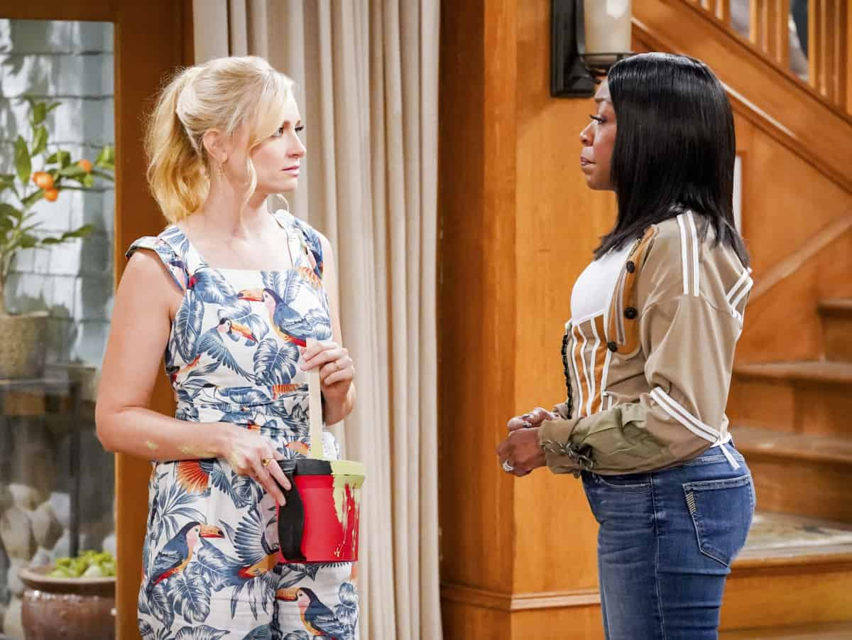 """THE NEIGHBORHOOD Season 4 Episode 4 """"Welcome to the Porch Pirate"""" - Pictured: Beth Behrs (Gemma Johnson) and Tichina Arnold (Tina Butler). When Dave and Gemma face a devastating loss, Calvin and Tina offer emotional support and reflect on a period that tested their own family, on the CBS Original series THE NEIGHBORHOOD, Monday, Oct. 11 (8:00-8:30 PM, ET/PT) on the CBS Television Network, and available to stream live and on demand on Paramount+. Photo: Monty Brinton/CBS ©2021 CBS Broadcasting, Inc. All Rights Reserved."""