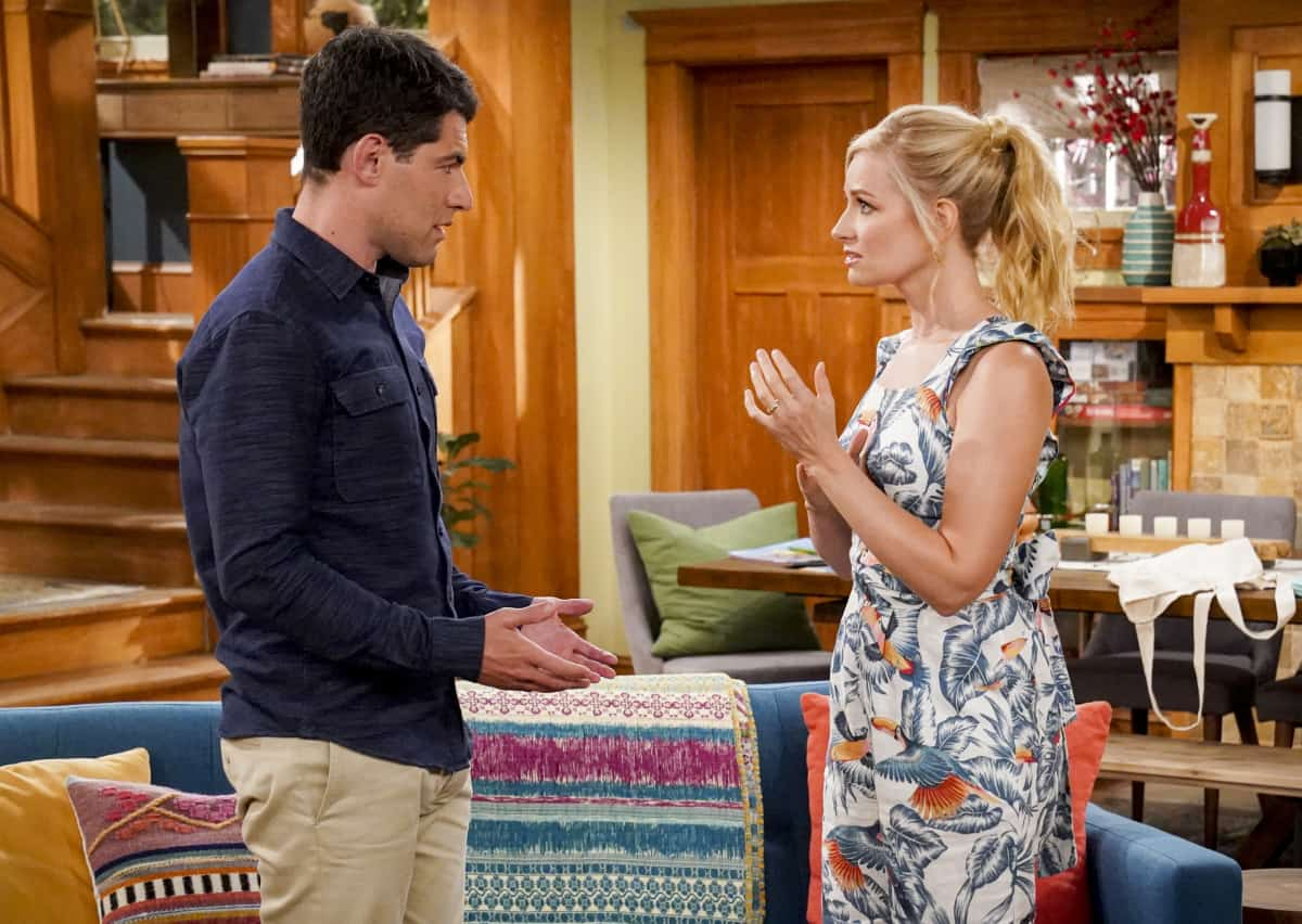"""THE NEIGHBORHOOD Season 4 Episode 4 """"Welcome to the Porch Pirate"""" - Pictured: Max Greenfield (Dave Johnson) and Beth Behrs (Gemma Johnson). When Dave and Gemma face a devastating loss, Calvin and Tina offer emotional support and reflect on a period that tested their own family, on the CBS Original series THE NEIGHBORHOOD, Monday, Oct. 11 (8:00-8:30 PM, ET/PT) on the CBS Television Network, and available to stream live and on demand on Paramount+. Photo: Monty Brinton/CBS ©2021 CBS Broadcasting, Inc. All Rights Reserved."""