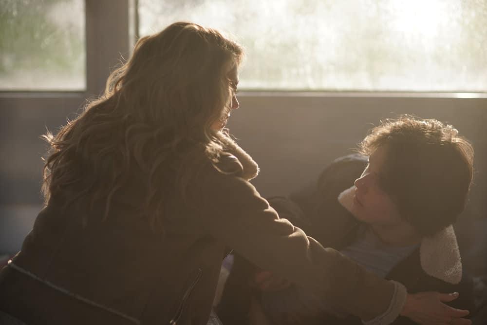 "LA BREA Season 1 Episode 3 -- ""The Hunt"" Episode 103 -- Pictured: (l-r) Natalie Zea as Eve Harris, Jack Martin as Josh Harris -- (Photo by: Sarah Enticknap/NBC)"