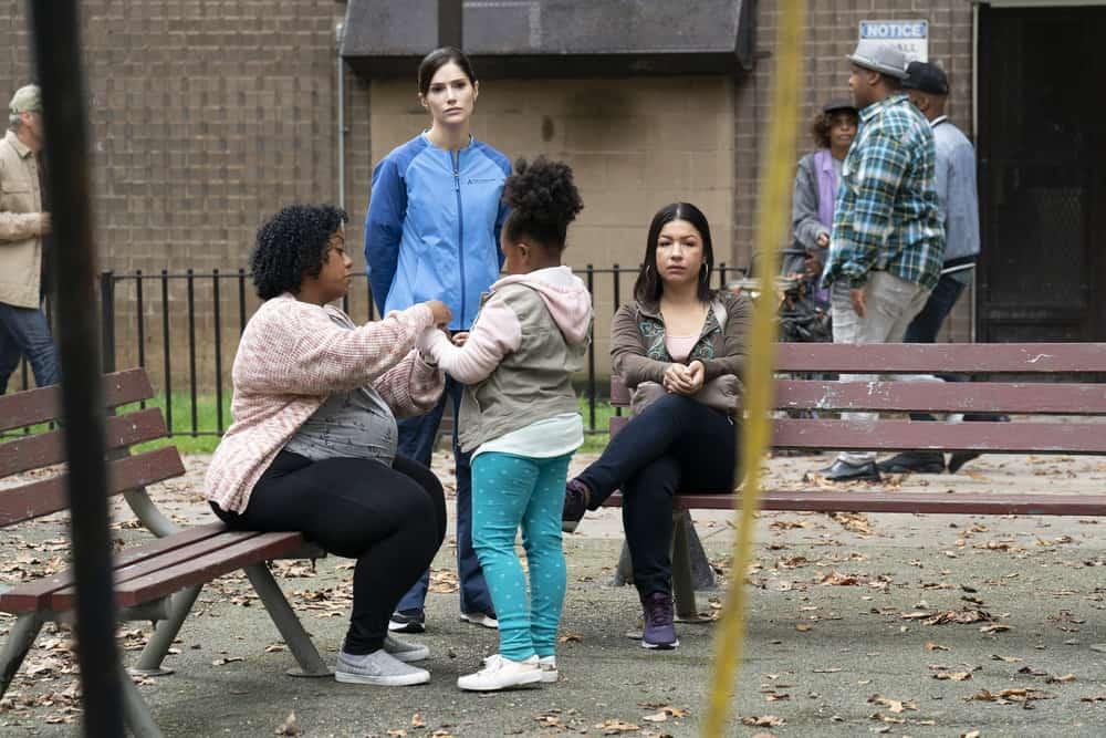 "NEW AMSTERDAM Season 4 Episode 4 -- ""Seed Money"" Episode 404 -- Pictured: (l-r) Ura Yoana Sanchez as Sheila, Janet Montgomery as Dr. Lauren Bloom, Saraih Lee-Ann Shaw-Glen as Kid, Laura Aguinaga as Dreama -- (Photo by: Virginia Sherwood/NBC)"