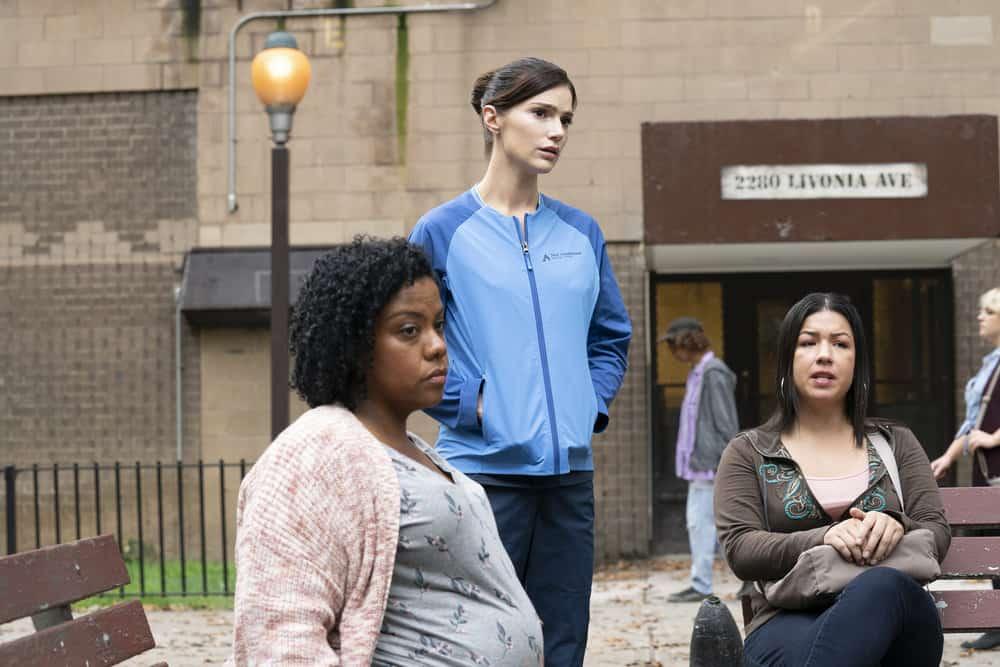 "NEW AMSTERDAM Season 4 Episode 4-- ""Seed Money"" Episode 404 -- Pictured: (l-r) Ura Yoana Sanchez as Sheila, Janet Montgomery as Dr. Lauren Bloom, Laura Aguinaga as Dreama -- (Photo by: Virginia Sherwood/NBC)"