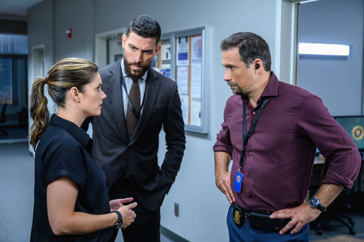 """FBI Season 4 Episode 4 """"Know Thyself"""" -- The team hunts for a serial killer who is targeting young, homeless men. Also, Tiffany and Scola don\'t see eye to eye on how to handle the case or the difference between partners and co-workers, on the CBS Original series FBI, Tuesday, Oct. 12 (8:00-9:00 PM, ET/PT) on the CBS Television Network, and available to stream live and on demand on Paramount+.   Pictured (L-R) Missy Peregrym as Special Agent Maggie Bell, Zeeko Zaki as Special Agent Omar Adom \'OA\' Zidan and Jeremy Sisto as Assistant Special Agent in Charge Jubal Valentine Photo: David M. Russell/CBS 2021 CBS Broadcasting, Inc. All Rights Reserved"""