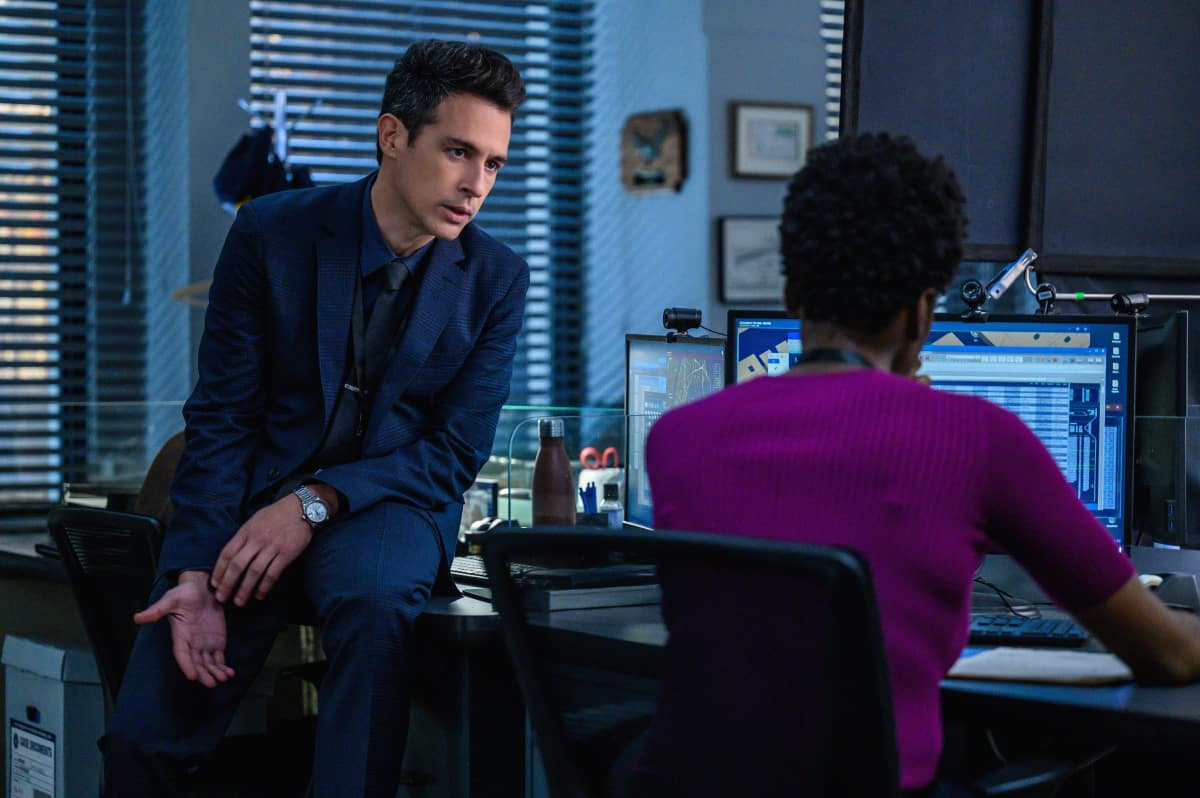 """FBI Season 4 Episode 4 """"Know Thyself"""" -- The team hunts for a serial killer who is targeting young, homeless men. Also, Tiffany and Scola don\'t see eye to eye on how to handle the case or the difference between partners and co-workers, on the CBS Original series FBI, Tuesday, Oct. 12 (8:00-9:00 PM, ET/PT) on the CBS Television Network, and available to stream live and on demand on Paramount+.   Pictured (L-R) John Boyd as Special Agent Stuart Scola and Katherine Renee Turner as Special Agent Tiffany Wallace   Photo: David M. Russell/CBS 2021 CBS Broadcasting, Inc. All Rights Reserved"""