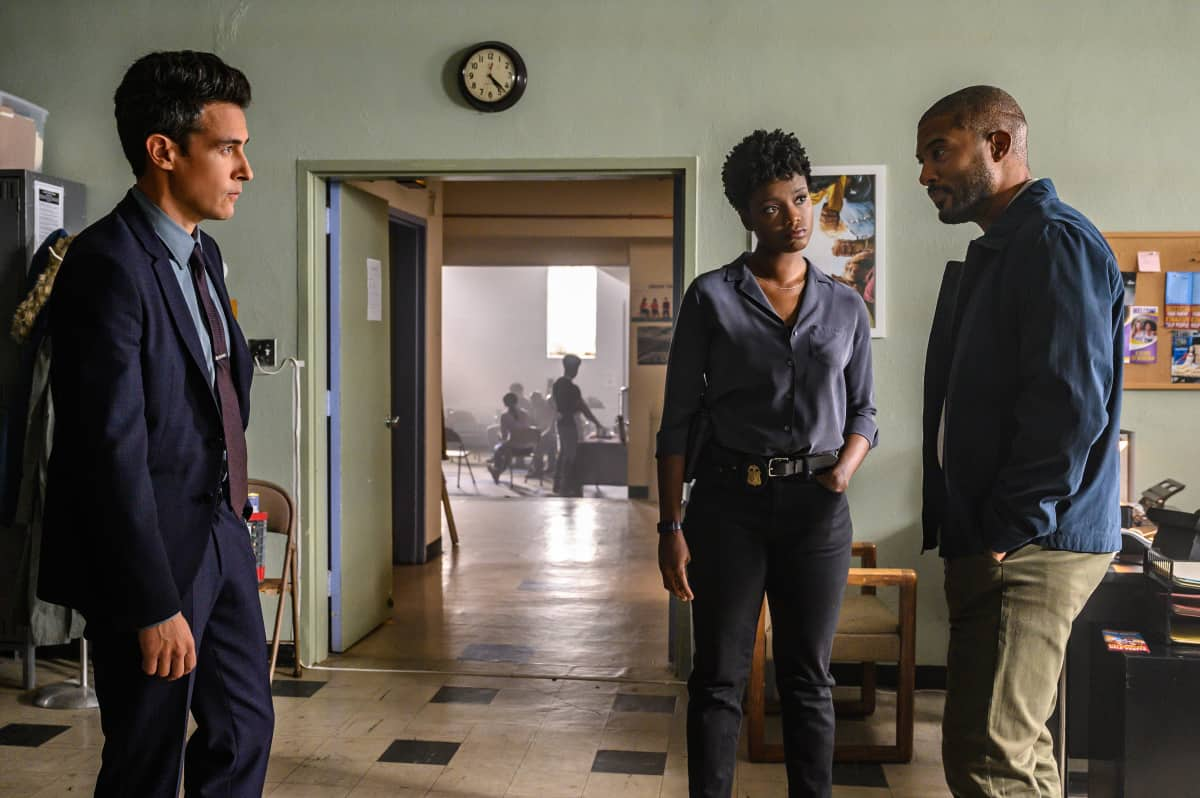 """FBI Season 4 Episode 4 """"Know Thyself"""" -- The team hunts for a serial killer who is targeting young, homeless men. Also, Tiffany and Scola don\'t see eye to eye on how to handle the case or the difference between partners and co-workers, on the CBS Original series FBI, Tuesday, Oct. 12 (8:00-9:00 PM, ET/PT) on the CBS Television Network, and available to stream live and on demand on Paramount+.   Pictured (L-R)  John Boyd as Special Agent Stuart Scola,  Katherine Renee Turner as Special Agent Tiffany Wallace and James Roch as Terrence   Photo: David M. Russell/CBS 2021 CBS Broadcasting, Inc. All Rights Reserved"""