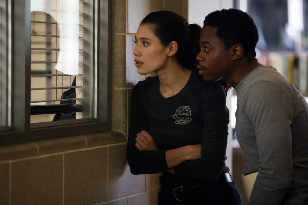 """CHICAGO FIRE Season 10 Episode 4 -- """"The Right Thing"""" Episode 1004 -- Pictured: (l-r) Hanako Greensmith as Violet, Daniel Kyri as Darren Ritter -- (Photo by: Adrian S. Burrows Sr./NBC)"""