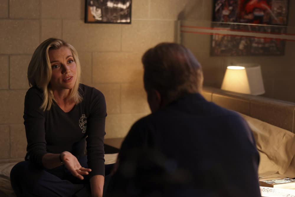 "CHICAGO FIRE Season 10 Episode 4 -- ""The Right Thing"" Episode 1004 -- Pictured: (l-r) Kara Killmer as Sylvie Brett -- (Photo by: Adrian S. Burrows Sr./NBC)"