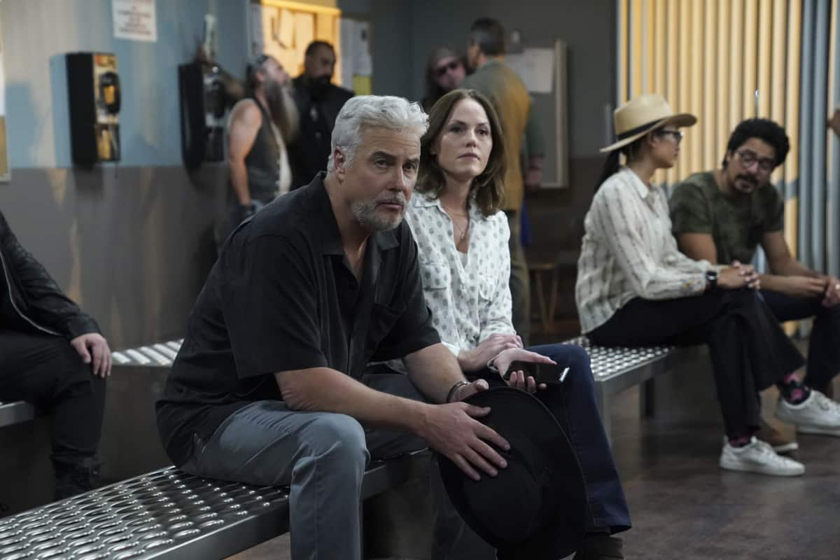 """CSI VEGAS Season 1 Episode 2 """"Honeymoon in Vegas"""" Gil Grissom and Sara Sidle come to the aid of a former colleague whoÕs been implicated in tampering with evidence. The rest of the CSI team works the murder of a couple slain on their wedding day, following the evidence to the salacious underbelly of the Las Vegas elite on CSI: VEGAS, Wednesday, Oct. 13 (10:00-11:00 PM, ET/PT) on the CBS Television Network and available to stream live and on demand on Paramount+. Pictured L-R: William Petersen as Dr. Gil Grissom and Jorja Fox as Sara Sidle Photo: Sonja Flemming/CBS ©2021 CBS Broadcasting, Inc. All Rights Reserved."""