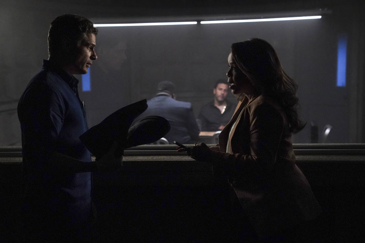 """CSI VEGAS Season 1 Episode 2 """"Honeymoon in Vegas"""" Gil Grissom and Sara Sidle come to the aid of a former colleague whoÕs been implicated in tampering with evidence. The rest of the CSI team works the murder of a couple slain on their wedding day, following the evidence to the salacious underbelly of the Las Vegas elite on CSI: VEGAS, Wednesday, Oct. 13 (10:00-11:00 PM, ET/PT) on the CBS Television Network and available to stream live and on demand on Paramount+. Pictured L-R: Matt Lauria as Josh Folsom and Paula Newsome as Maxine Roby Photo: Sonja Flemming/CBS ©2021 CBS Broadcasting, Inc. All Rights Reserved."""