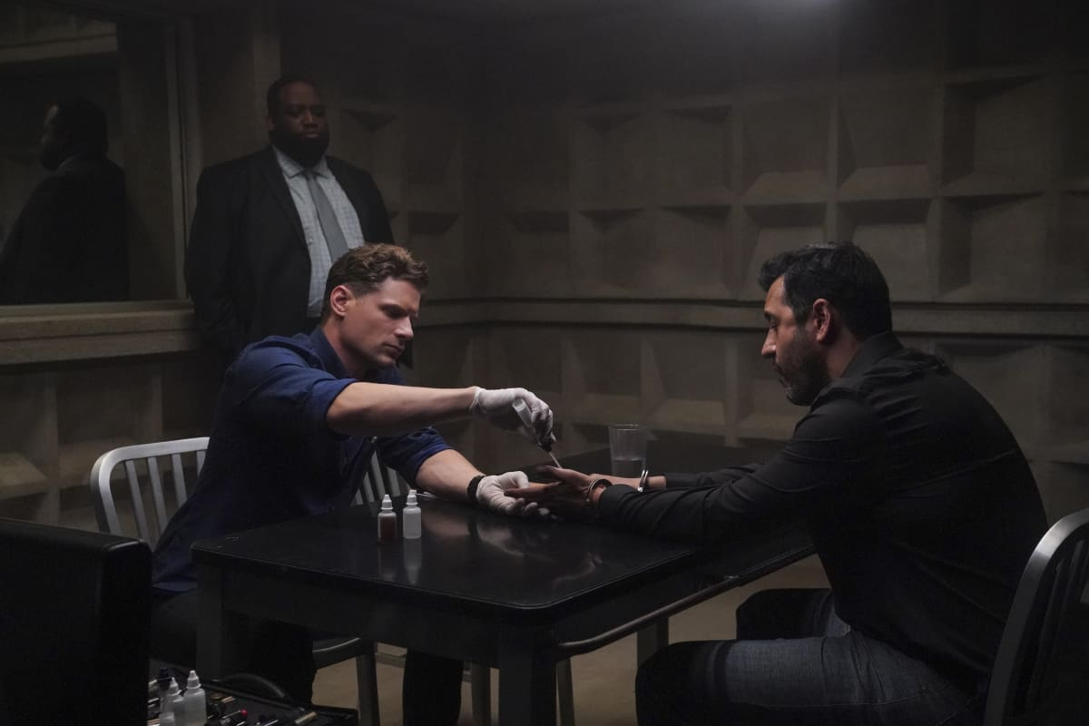 """CSI VEGAS Season 1 Episode 2 """"Honeymoon in Vegas"""" Gil Grissom and Sara Sidle come to the aid of a former colleague whoÕs been implicated in tampering with evidence. The rest of the CSI team works the murder of a couple slain on their wedding day, following the evidence to the salacious underbelly of the Las Vegas elite on CSI: VEGAS, Wednesday, Oct. 13 (10:00-11:00 PM, ET/PT) on the CBS Television Network and available to stream live and on demand on Paramount+. Pictured L-R: Matt Lauria as Josh Folsom, Sean Alexander James as Det. Carson, and Cyrus Deboo as Anwar Hassan Photo: Sonja Flemming/CBS ©2021 CBS Broadcasting, Inc. All Rights Reserved."""