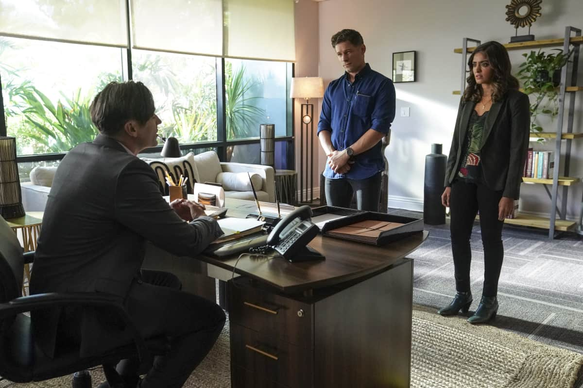 """CSI VEGAS Season 1 Episode 2 """"Honeymoon in Vegas"""" Gil Grissom and Sara Sidle come to the aid of a former colleague whoÕs been implicated in tampering with evidence. The rest of the CSI team works the murder of a couple slain on their wedding day, following the evidence to the salacious underbelly of the Las Vegas elite on CSI: VEGAS, Wednesday, Oct. 13 (10:00-11:00 PM, ET/PT) on the CBS Television Network and available to stream live and on demand on Paramount+. Pictured L-R: Derek Yates as Kate Kestler, Matt Lauria as Josh Folsom, and Mandeep Dhillon as Allie Rajan Photo: Sonja Flemming/CBS ©2021 CBS Broadcasting, Inc. All Rights Reserved."""