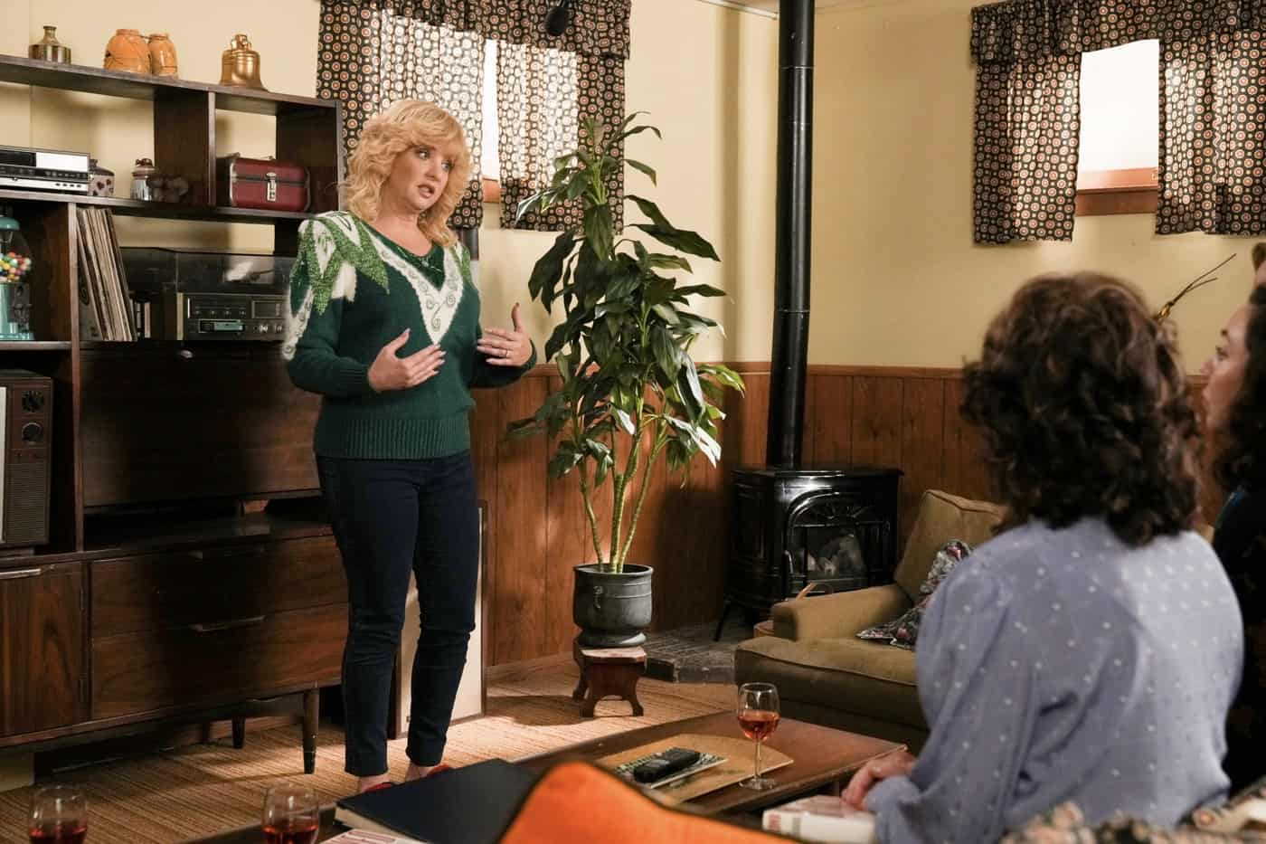 """THE GOLDBERGS Season 9 Episode 4 - """"The William Penn Years"""" – Never a sports enthusiast, Adam finds himself in a pickle with his peers when he's recruited to film his high school's highly awaited last football game of the year and fails to capture his team's winning touchdown. Meanwhile, Beverly discovers her neighbor Arnie Wolfy (Dan Lauria) is moving and she's determined to buy his spacious home and move the family in. Murray's long-standing and unresolved conflict with Arnie challenges Beverly's plans, but the family comes to appreciate home is where the heart is on a new episode of """"The Goldbergs,"""" airing WEDNESDAY, OCT. 13 (8:00-8:30 p.m. EDT), on ABC. (ABC/Scott Everett White) WENDI MCLENDON-COVEY"""