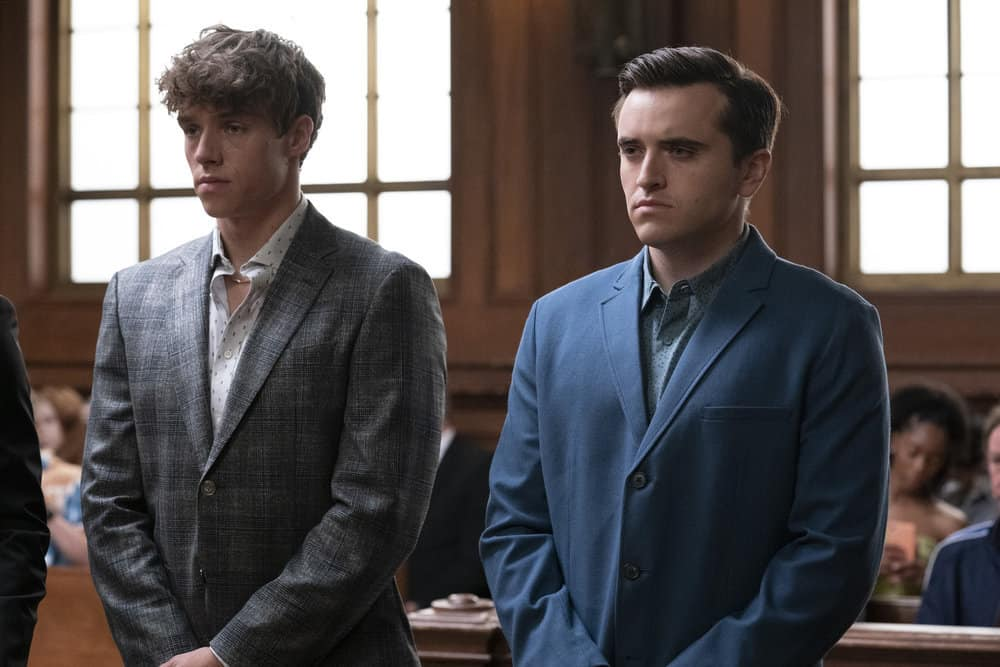 """LAW AND ORDER SVU Season 23 Episode 5T -- """"Fast Times @TheWheelHouse"""" Episode 23005 -- Pictured: (l-r) Jakob Winter as Tate Rivers, Conor Sweeney as Liam Rivers -- (Photo by: Virginia Sherwood/NBC)"""