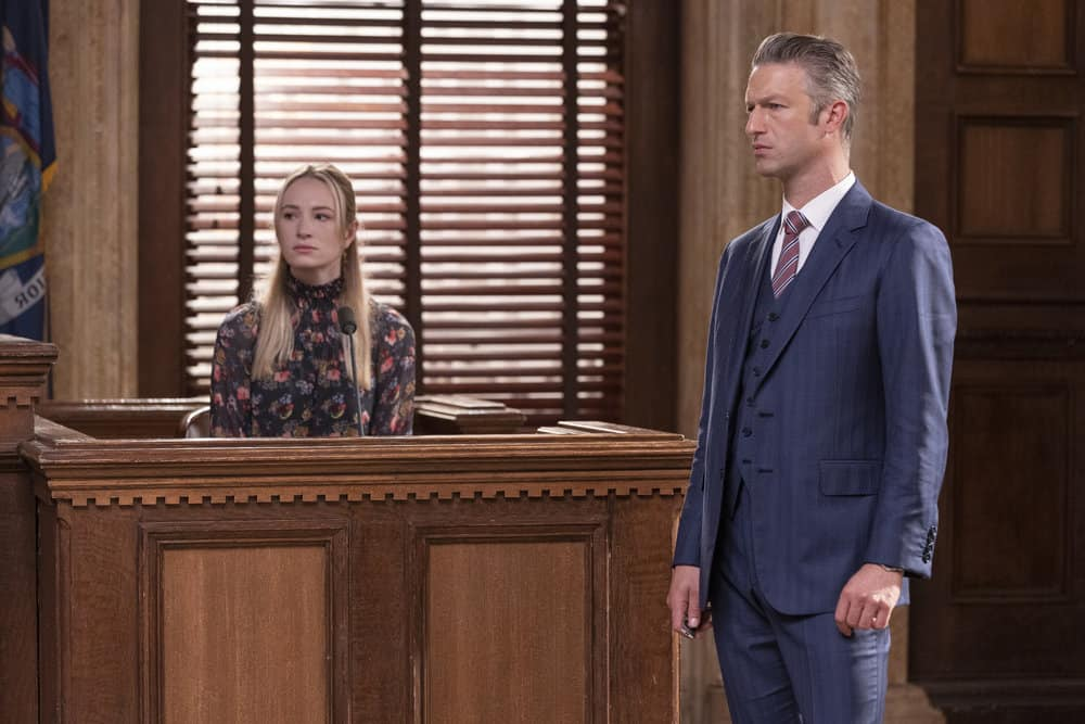 """LAW AND ORDER SVU Season 23 Episode 5 -- """"Fast Times @TheWheelHouse"""" Episode 23005 -- Pictured: (l-r) Lena Torluemke as Willa Bartola, Peter Scanavino as Assistant District Attorney Sonny Carisi -- (Photo by: Eric Liebowitz/NBC)"""