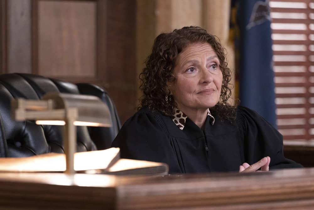 "LAW AND ORDER SVU Season 23 Episode 5 -- ""Fast Times @TheWheelHouse"" Episode 23005 -- Pictured: Aida Turturro as Judge Felicia Catano -- (Photo by: Eric Liebowitz/NBC)"