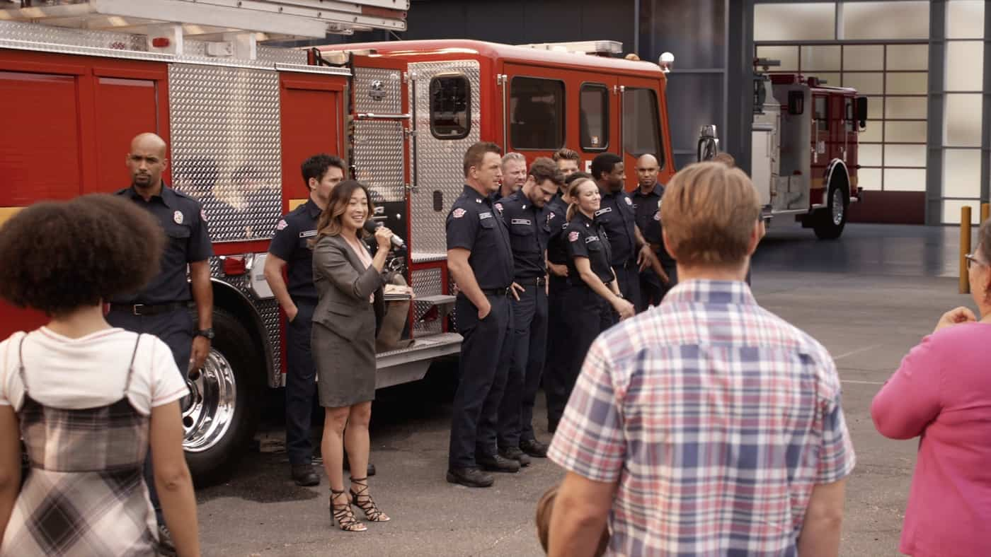 """STATION 19 Season 5 Episode 3 - """"Too Darn Hot"""" – When a heat wave hits Seattle, Station 19 becomes a cooling center and chaos ensues with locals who aren't used to the extreme temperatures. Andy deals with regret and finds a friend in Theo. Joey comes face-to-face with his past during a ride-along with Ben and Jack on a new episode of """"Station 19,"""" THURSDAY, OCT. 14 (8:00-9:00 p.m. EDT), on ABC. (ABC) STATION 19"""