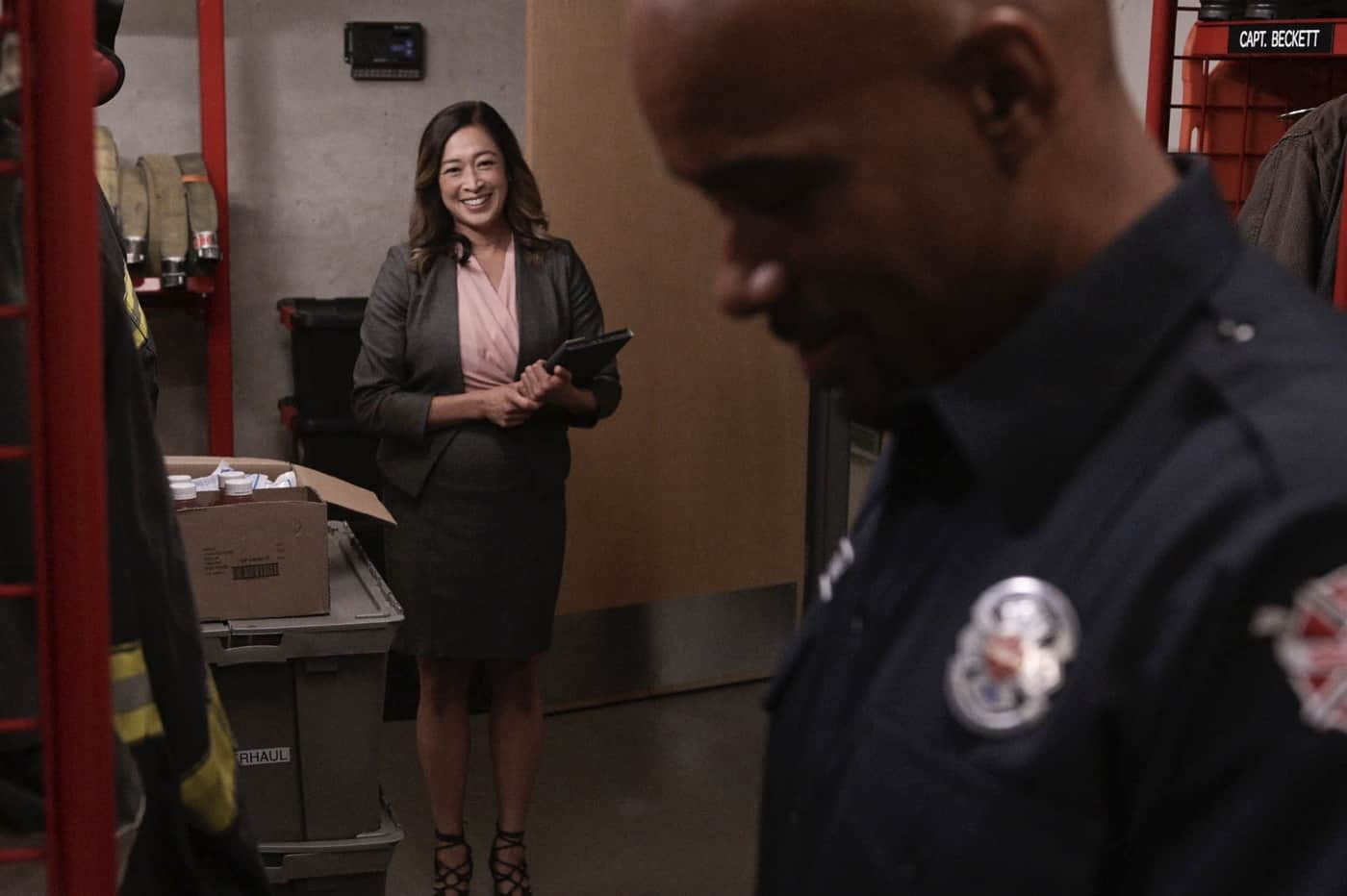 """STATION 19 Season 5 Episode 3 - """"Too Darn Hot"""" – When a heat wave hits Seattle, Station 19 becomes a cooling center and chaos ensues with locals who aren't used to the extreme temperatures. Andy deals with regret and finds a friend in Theo. Joey comes face-to-face with his past during a ride-along with Ben and Jack on a new episode of """"Station 19,"""" THURSDAY, OCT. 14 (8:00-9:00 p.m. EDT), on ABC. (ABC) CAMILLE CHEN"""