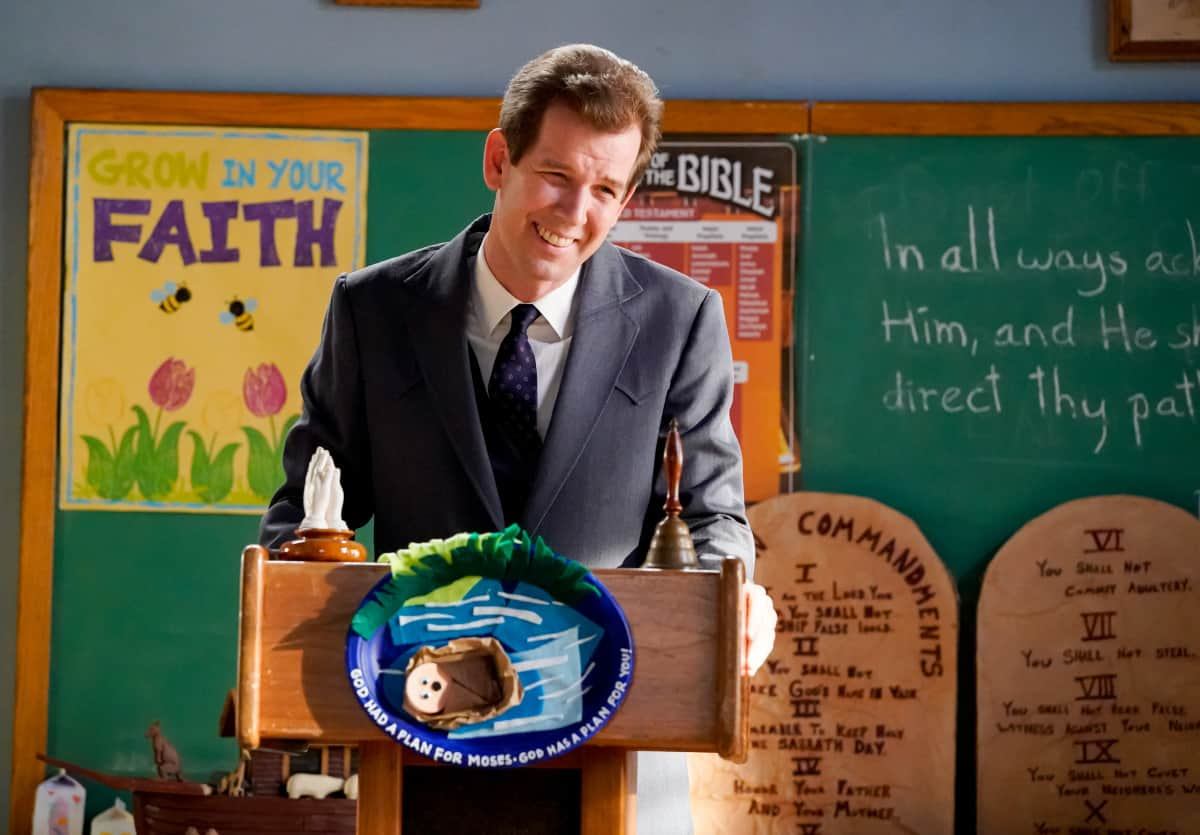 """YOUNG SHELDON Season 5 Episode 2 """"Snoopin' Around and the Wonder Twins of Atheism""""- Pictured: Pastor Jeff (Matt Hobby). Sheldon encourages Missy to question the Bible. Also, Meemaw is determined to catch George Sr. in a lie and Mary helps Pastor Jeff (Matt Hobby) search for a Youth Pastor, on YOUNG SHELDON, Thursday, Oct. 14 (8:00-8:31 PM, ET/PT) on the CBS Television Network and available to stream live and on demand on Paramount+. Photo Credit: Robert Voets/CBS Entertainment  ©2021 CBS Broadcasting, Inc. All Rights Reserved."""