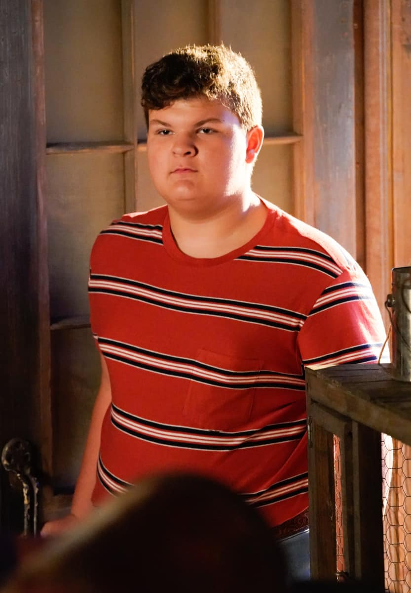 """YOUNG SHELDON Season 5 Episode 2 """"Snoopin' Around and the Wonder Twins of Atheism""""- Pictured: Billy Sparks (Wyatt McClure). Sheldon encourages Missy to question the Bible. Also, Meemaw is determined to catch George Sr. in a lie and Mary helps Pastor Jeff (Matt Hobby) search for a Youth Pastor, on YOUNG SHELDON, Thursday, Oct. 14 (8:00-8:31 PM, ET/PT) on the CBS Television Network and available to stream live and on demand on Paramount+. Photo Credit: Robert Voets/CBS Entertainment  ©2021 CBS Broadcasting, Inc. All Rights Reserved."""