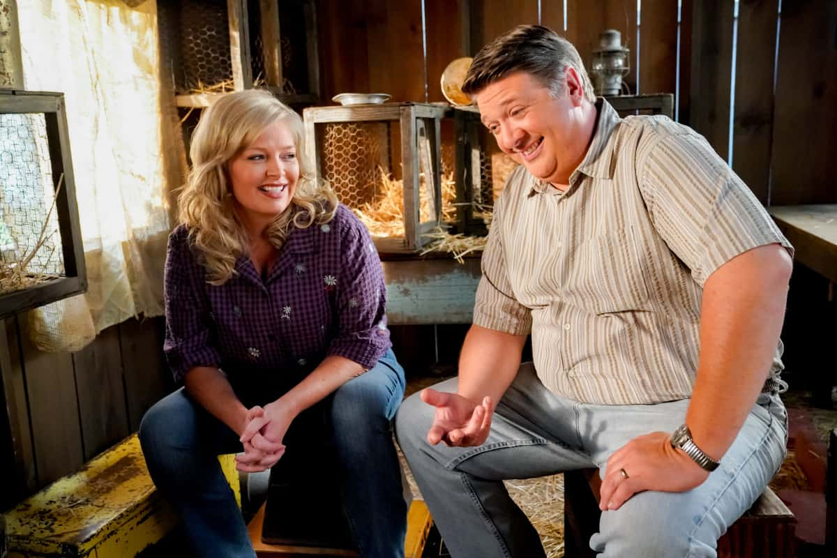"""YOUNG SHELDON Season 5 Episode 2 """"Snoopin' Around and the Wonder Twins of Atheism""""- Pictured: Brenda Sparks (Melissa Peterman) and George Sr. (Lance Barber). Sheldon encourages Missy to question the Bible. Also, Meemaw is determined to catch George Sr. in a lie and Mary helps Pastor Jeff (Matt Hobby) search for a Youth Pastor, on YOUNG SHELDON, Thursday, Oct. 14 (8:00-8:31 PM, ET/PT) on the CBS Television Network and available to stream live and on demand on Paramount+. Photo Credit: Robert Voets/CBS Entertainment  ©2021 CBS Broadcasting, Inc. All Rights Reserved."""