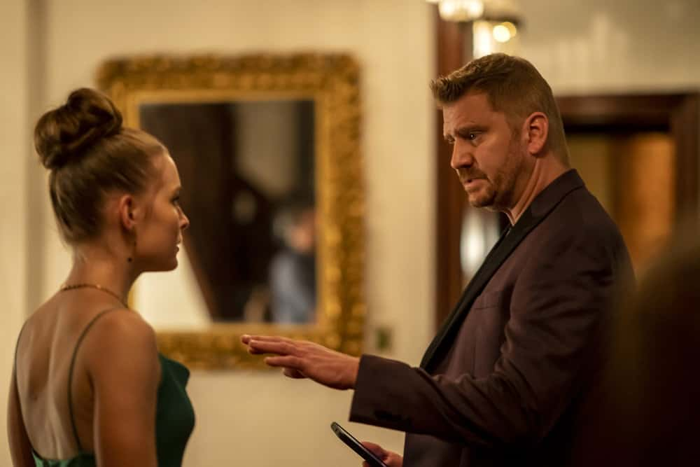 """LAW AND ORDER ORGANIZED CRIME Season 2 Episode 5 -- """"The Good, The Bad and The Lovely"""" Episode 205 -- Pictured: (l-r) Izabela Vidovic as Rita, Dash Mihok as Reggie Bogdani -- (Photo by: Zach Dilgard/NBC)"""